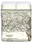 1835 Pennsylvania And New Jersey Map Duvet Cover