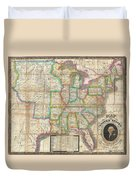 1835 Webster Map Of The United States Duvet Cover
