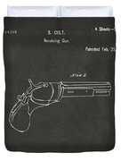 1836 First Colt Revolver Patent Artwork - Gray Duvet Cover
