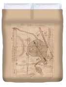 1840 Manuscript Map Of The Collect Pond And Five Points New York City Duvet Cover