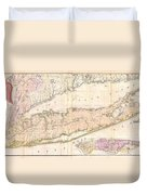 1842 Mather Map Of Long Island New York Duvet Cover by Paul Fearn