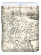 1851 Tallis And Rapkin Map Of Independent Tartary  Duvet Cover