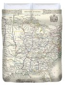 1851 Tallis And Rapkin Map Of The United States Duvet Cover