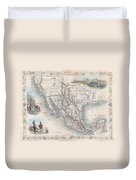 1851 Tallis Map Of Mexico Texas And California  Duvet Cover