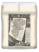 1852 Levasseur Map Of The Department L Aisne France Duvet Cover