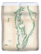 1852 Us. Coast Survey Chart Or Map Of The Chesapeake Bay And Delaware Bay Duvet Cover