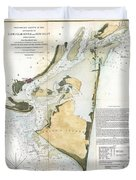 1853 Us Coast Survey Map Of Key Biscayne Bay Key West And The Cedar Keys Florida Duvet Cover