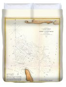 1853 Us Coast Survey Map Of The Romer And Flynns Shoals Near Coney Island New York Duvet Cover