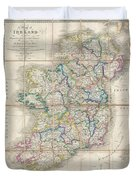 1853 Wyld Pocket Or Case Map Of Ireland Duvet Cover