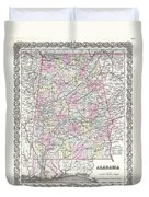 1855 Colton Map Of Alabama Duvet Cover