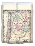 1855 Colton Map Of Argentina Chile Paraguay And Uruguay Duvet Cover