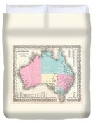 1855 Colton Map Of Australia Duvet Cover