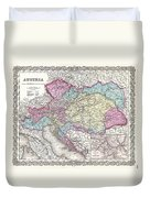 1855 Colton Map Of Austria Hungary And The Czech Republic Duvet Cover