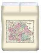 1855 Colton Map Of Bavaria Wurtemberg And Baden Germany Duvet Cover