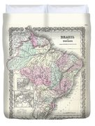 1855 Colton Map Of Brazil And Guyana Duvet Cover