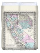 1855 Colton Map Of California And San Francisco Duvet Cover