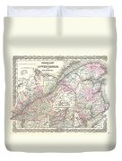 1855 Colton Map Of Canada East Or Quebec Duvet Cover