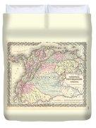 1855 Colton Map Of Columbia Venezuela And Ecuador Duvet Cover