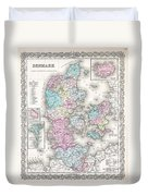 1855 Colton Map Of Denmark Duvet Cover