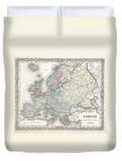 1855 Colton Map Of Europe Duvet Cover