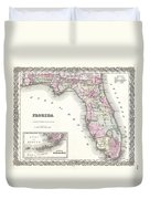 1855 Colton Map Of Florida Duvet Cover