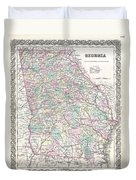 1855 Colton Map Of Georgia Duvet Cover