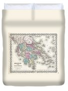 1855 Colton Map Of Greece  Duvet Cover