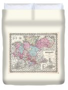 1855 Colton Map Of Hanover And Holstein Germany Duvet Cover