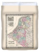 1855 Colton Map Of Holland And Belgium Duvet Cover