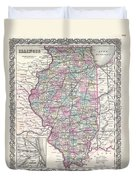 1855 Colton Map Of Illinois Duvet Cover