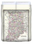 1855 Colton Map Of Indiana Duvet Cover