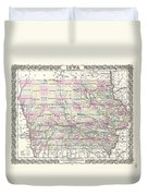 1855 Colton Map Of Iowa Duvet Cover