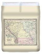 1855 Colton Map Of Kansas And Nebraska  Duvet Cover