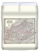 1855 Colton Map Of Kentucky And Tennessee Duvet Cover