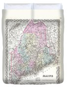 1855 Colton Map Of Maine Duvet Cover