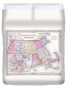 1855 Colton Map Of Massachusetts And Rhode Island Duvet Cover