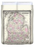 1855 Colton Map Of Michigan Duvet Cover