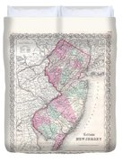 1855 Colton Map Of New Jersey Duvet Cover