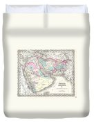1855 Colton Map Of Persia Afghanistan And Arabia Duvet Cover