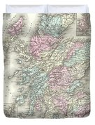 1855 Colton Map Of Scotland Duvet Cover