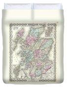 1855 Colton Map Of Scotland Duvet Cover
