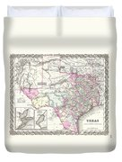 1855 Colton Map Of Texas Duvet Cover