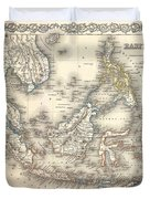 1855 Colton Map Of The East Indies Singapore Thailand Borneo Malaysia Duvet Cover