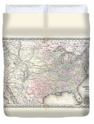 1855 Colton Map Of The United States  Duvet Cover