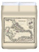 1855 Colton Map Of The West Indies Duvet Cover