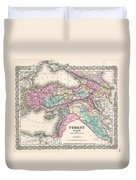 1855 Colton Map Of Turkey Iraq And Syria Duvet Cover