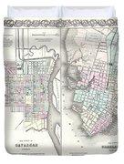1855 Colton Plan Or Map Of Charleston South Carolina And Savannah Georgia Duvet Cover