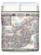1856 Colton Pocket Map Of New England And New York Duvet Cover