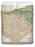 1856 Japanese Edo Period Woodblock Map Of Musashi Kuni Tokyo Or Edo Province Duvet Cover