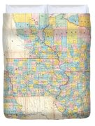 1857 Chapman Pocket Map Of The North West Illinois Wisconsin Iowa  Duvet Cover